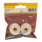 35mm White Plastic Door Stops Pack of 2